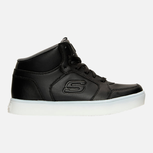 Right view of Boys' Grade School Skechers Energy Lights Light-Up Casual Shoes in Black