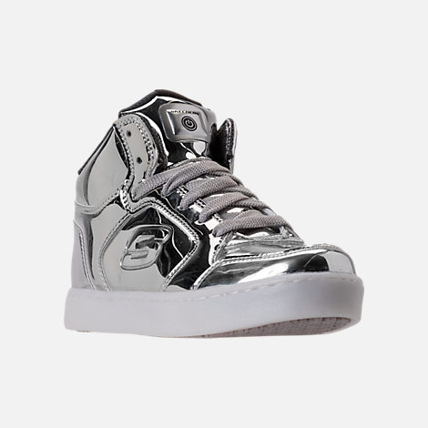 Three Quarter view of Boys' Grade School Skechers S Lights: Energy Lights Light-Up Casual Shoes in Silver