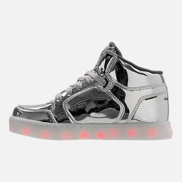 Left view of Boys' Grade School Skechers S Lights: Energy Lights Light-Up Casual Shoes in Silver
