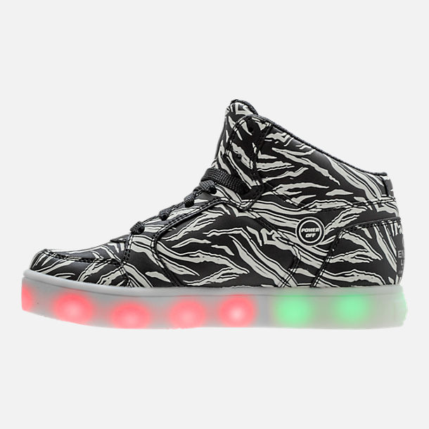 Left view of Boys' Grade School Skechers S Lights: Skechers Swipe Lights Light-Up High Top Casual Shoes in Black/White/Glow in the Dark