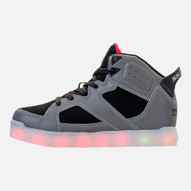 Left view of Big Kids' Skechers S Lights: Energy Lights E-Pro - Show Stopper II Light-Up High Top Shoes in Black/White