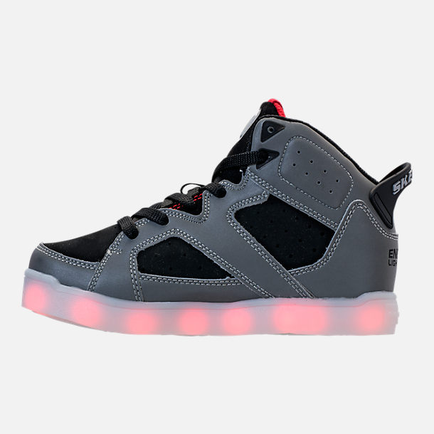 Left view of Little Kids' Skechers S Lights: Energy Lights E-Pro - Show Stopper II Light-Up High Top Shoes in Black/White
