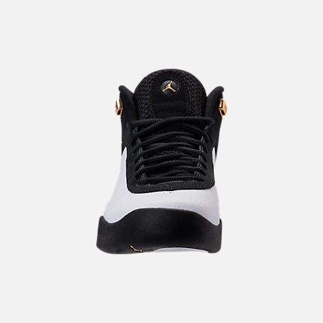 Front view of Men's Air Jordan Jumpman Pro Basketball Shoes in Black/Metallic Gold/White