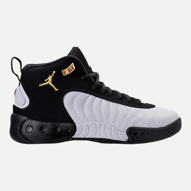 Right view of Kids' Grade School Jordan Jumpman Pro Basketball Shoes in Black/Metallic Gold/White