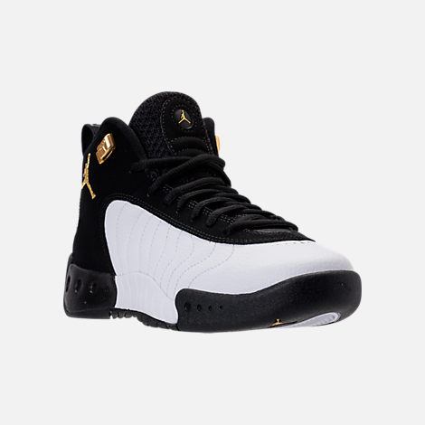 Three Quarter view of Kids' Grade School Jordan Jumpman Pro Basketball Shoes in Black/Metallic Gold/White