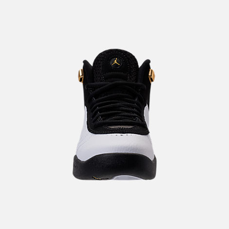Front view of Kids' Grade School Jordan Jumpman Pro Basketball Shoes in Black/Metallic Gold/White