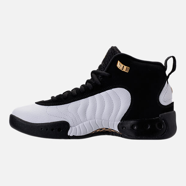 Left view of Kids' Grade School Jordan Jumpman Pro Basketball Shoes in Black/Metallic Gold/White