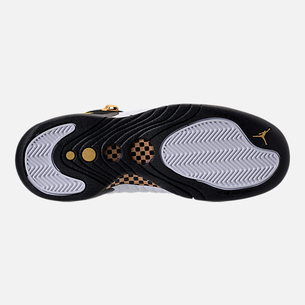 Bottom view of Kids' Grade School Jordan Jumpman Pro Basketball Shoes in Black/Metallic Gold/White