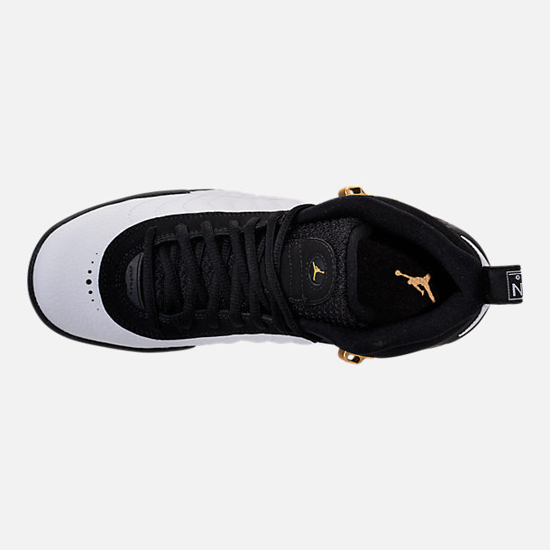 Top view of Kids' Grade School Jordan Jumpman Pro Basketball Shoes in Black/Metallic Gold/White