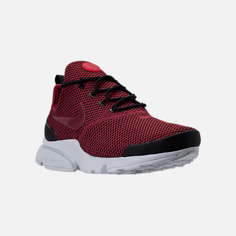 Three Quarter view of Men's Nike Presto Fly Ultra SE Casual Shoes in Black/Team Red/Platinum