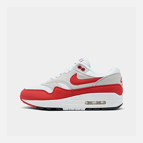 buy online aa0ac ad77d Right view of Men's Nike Air Max 1 Anniversary Casual Shoes in  White/University Red