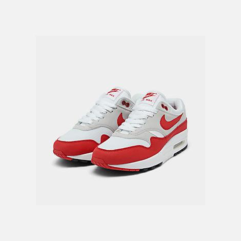 Three Quarter view of Men s Nike Air Max 1 Anniversary Casual Shoes in  White University 0da7cc0e5