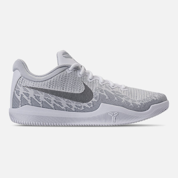 Right view of Men's Nike Kobe Mamba Rage Basketball Shoes in White/Grey