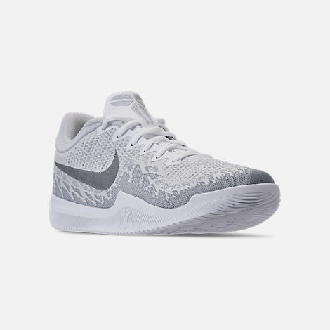 Three Quarter view of Men's Nike Kobe Mamba Rage Basketball Shoes in White/Grey