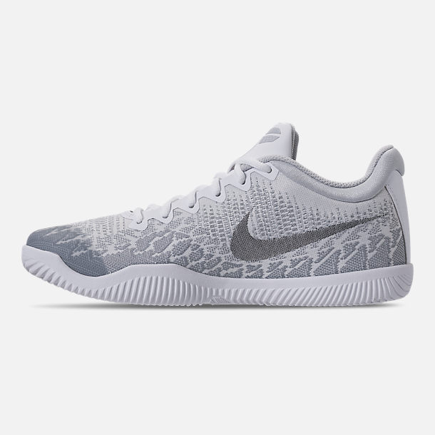 Left view of Men's Nike Kobe Mamba Rage Basketball Shoes in White/Grey