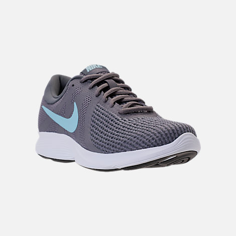 Three Quarter view of Women's Nike Revolution 4 Running Shoes in Gunsmooke/Ocean Bliss/Dark Grey