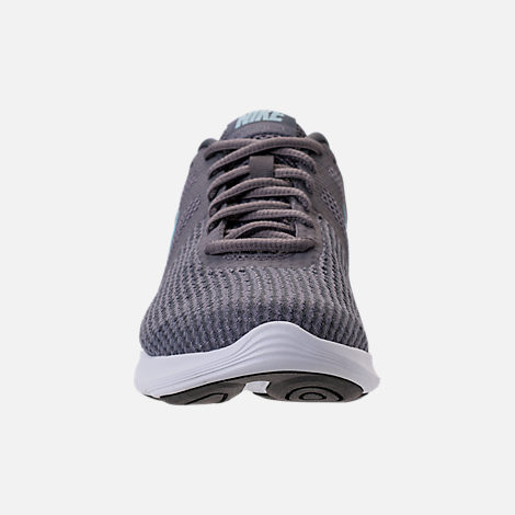 Front view of Women's Nike Revolution 4 Running Shoes in Gunsmooke/Ocean Bliss/Dark Grey