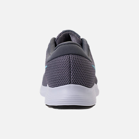 Back view of Women's Nike Revolution 4 Running Shoes in Gunsmooke/Ocean Bliss/Dark Grey