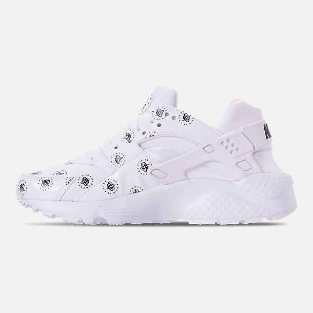 Left view of Boys' Grade School Nike Air Huarache Run SE Casual Shoes in White/Black