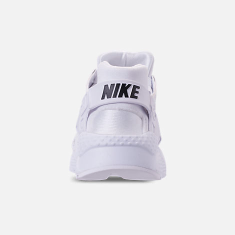 Back view of Boys' Grade School Nike Air Huarache Run SE Casual Shoes in White/Black