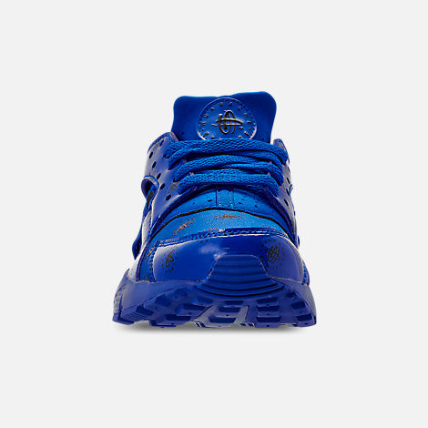 Front view of Boys' Big Kids' Nike Air Huarache Run SE Casual Shoes in Royal Blue/Royal Blue