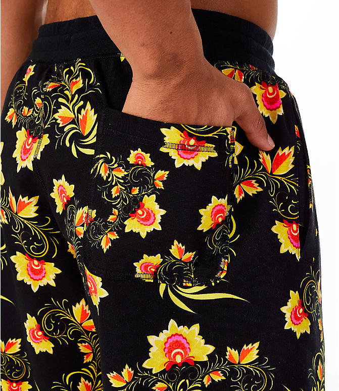 Detail 1 view of Men's Nike Sportswear Floral N98 Shorts in Black/Tour Yellow