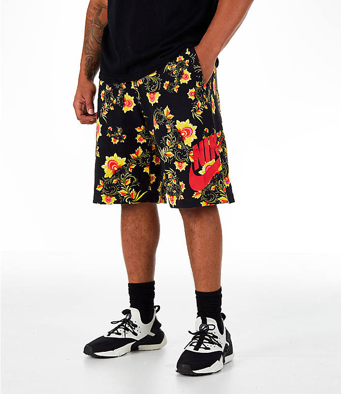 Front view of Men's Nike Sportswear Floral N98 Shorts in Black/Tour Yellow