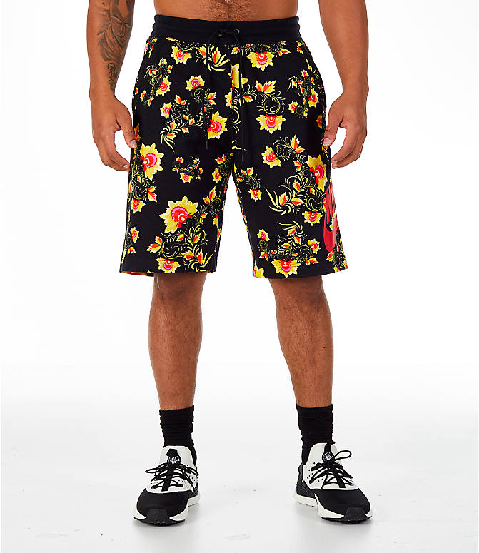 Front Three Quarter view of Men's Nike Sportswear Floral N98 Shorts in Black/Tour Yellow
