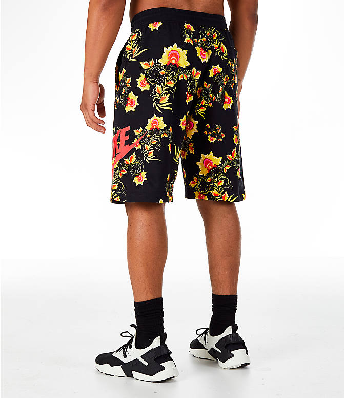 Back Left view of Men's Nike Sportswear Floral N98 Shorts in Black/Tour Yellow