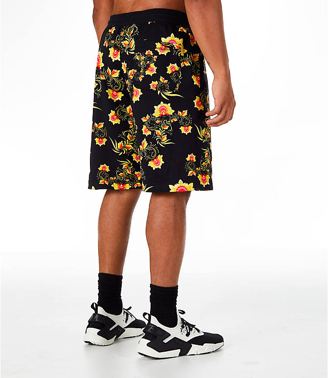Back Right view of Men's Nike Sportswear Floral N98 Shorts in Black/Tour Yellow