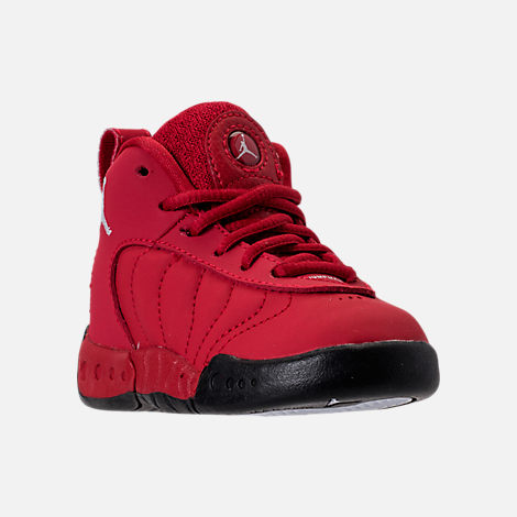 Three Quarter view of Kids' Toddler Jordan Jumpman Pro Basketball Shoes in Gym Red/White/Black