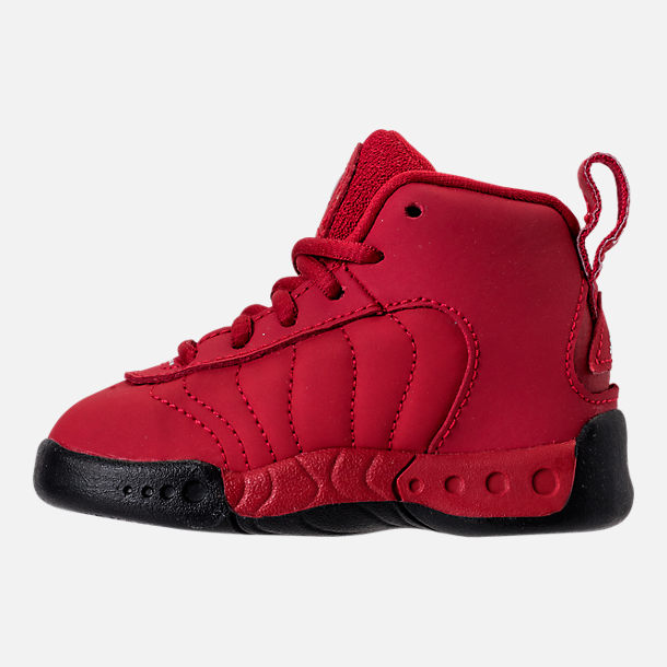 Left view of Kids' Toddler Jordan Jumpman Pro Basketball Shoes in Gym Red/White/Black
