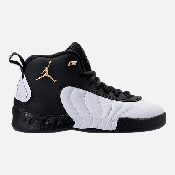 Right view of Kids' Preschool Jordan Jumpman Pro Basketball Shoes in Black/Metallic Gold/White/Black