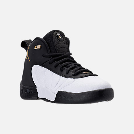 Three Quarter view of Kids' Preschool Jordan Jumpman Pro Basketball Shoes in Black/Metallic Gold/White/Black
