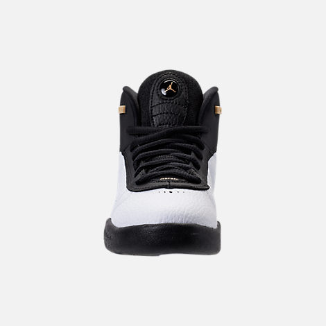 Front view of Kids' Preschool Jordan Jumpman Pro Basketball Shoes in Black/Metallic Gold/White/Black