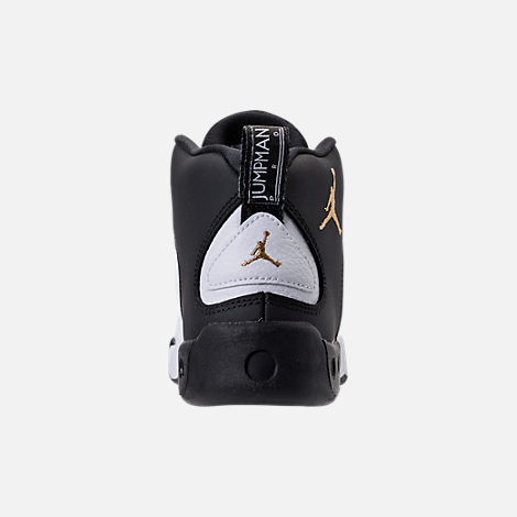 Back view of Kids' Preschool Jordan Jumpman Pro Basketball Shoes in Black/Metallic Gold/White/Black