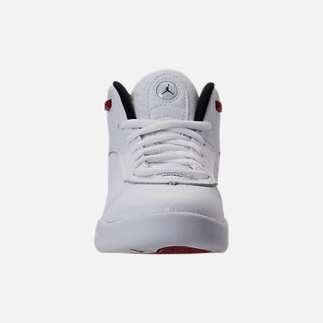 Front view of Kids' Preschool Jordan Jumpman Pro Basketball Shoes in White/Black/Gym Red