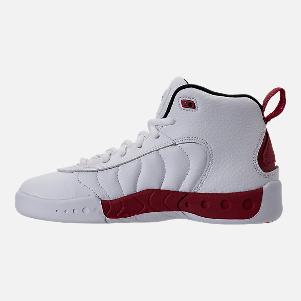 Left view of Kids' Preschool Jordan Jumpman Pro Basketball Shoes in White/Black/Gym Red
