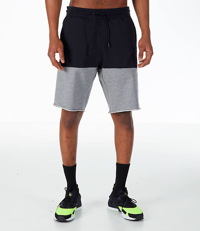 Front Three Quarter view of Men's Nike Sportswear Franchise Shorts in Black/Carbon Heather