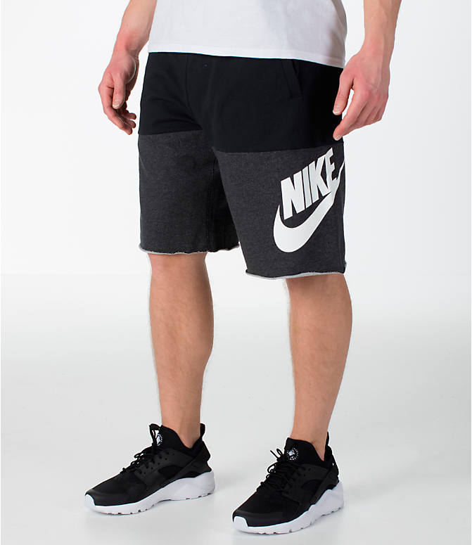 Front view of Men's Nike Sportswear Franchise Shorts in Black/White