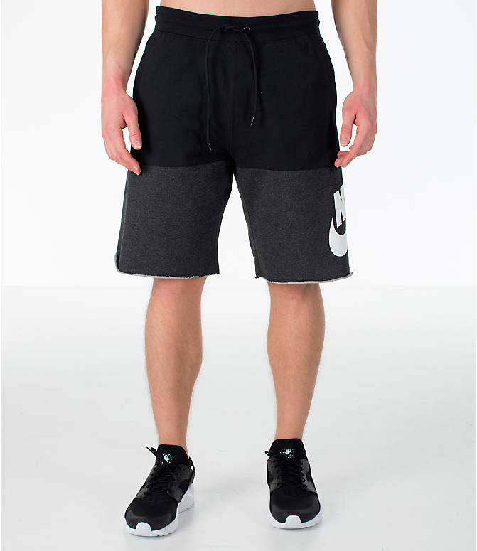 Front Three Quarter view of Men's Nike Sportswear Franchise Shorts in Black/White