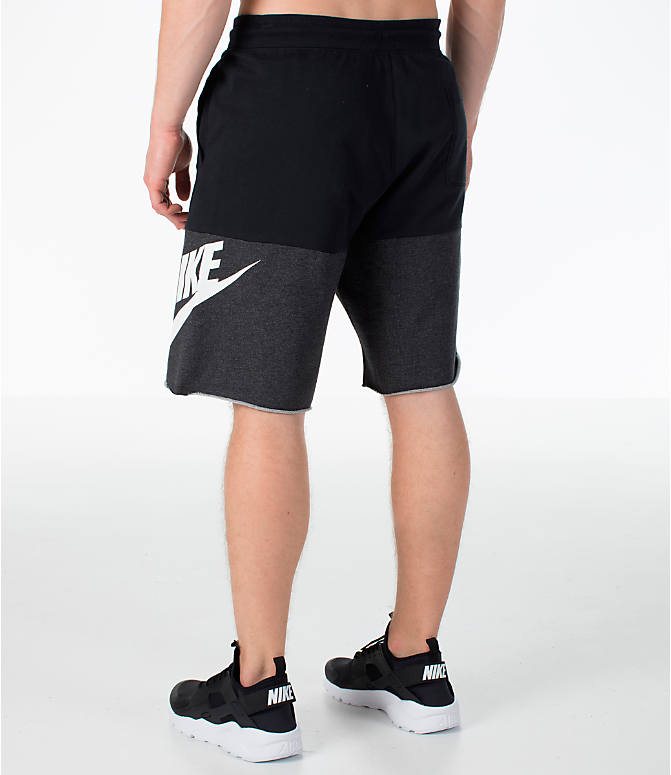 Back Left view of Men's Nike Sportswear Franchise Shorts in Black/White