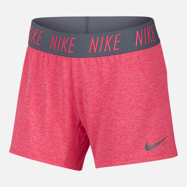 Front view of Girls' Nike Dry Training Shorts in Racer Pink/Heather/Cool Grey