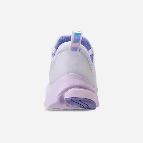 Back view of Women's Nike Presto Fly Casual Shoes in White/Barely Grape/Twilight Pulse