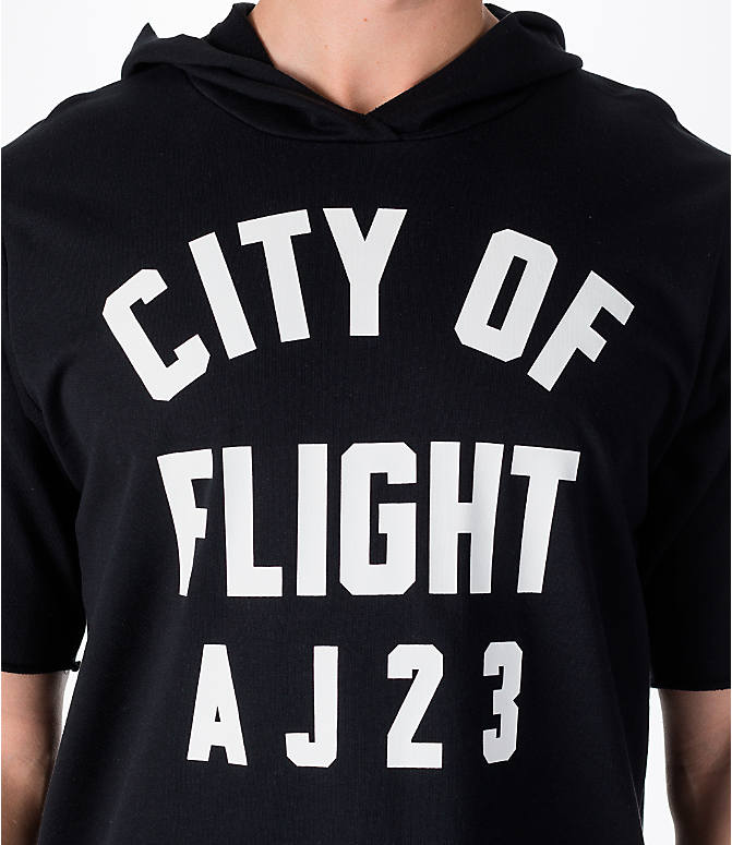 "Detail 1 view of Men's Air Jordan ""City of Flight"" Short-Sleeve Hooded Shirt in Black"