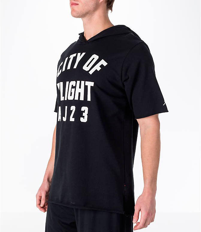 "Front Three Quarter view of Men's Air Jordan ""City of Flight"" Short-Sleeve Hooded Shirt in Black"