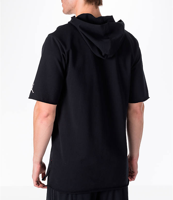 "Back Left view of Men's Air Jordan ""City of Flight"" Short-Sleeve Hooded Shirt in Black"