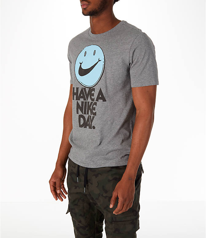 Front Three Quarter view of Men's Nike Have a Nike Day T-Shirt in Carbon Heather/Cobalt Tint