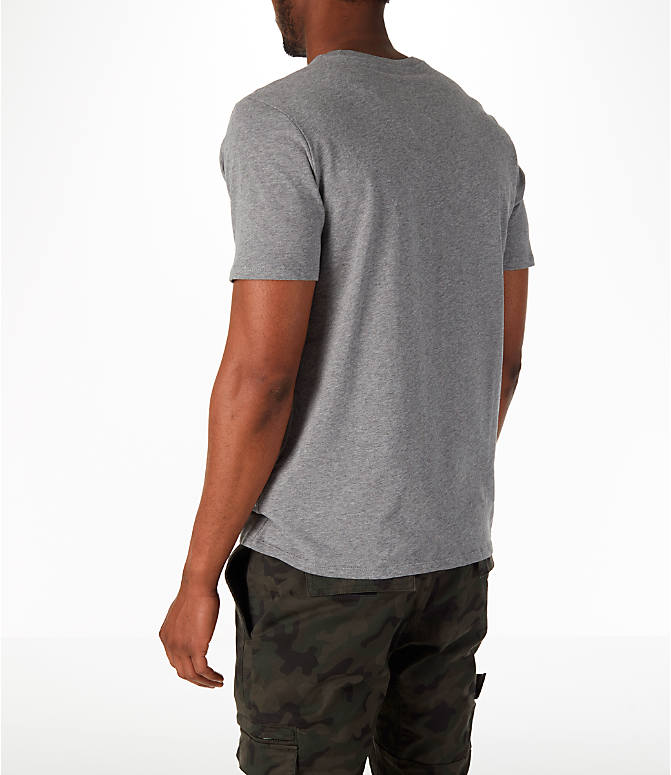 Back Left view of Men's Nike Have a Nike Day T-Shirt in Carbon Heather/Cobalt Tint