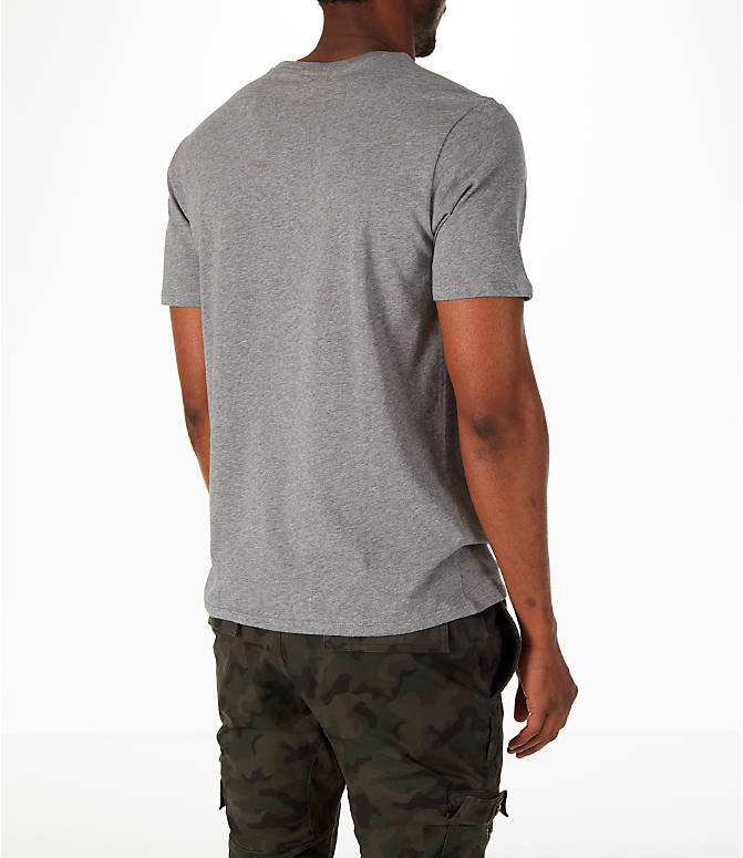 Back Right view of Men's Nike Have a Nike Day T-Shirt in Carbon Heather/Cobalt Tint